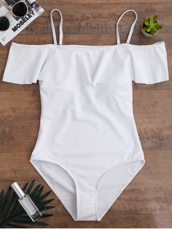 Off The Shoulder Flounced One-Piece Swimwear - WHITE S
