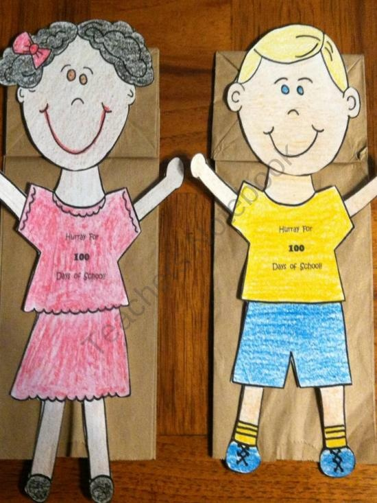 100th day of school puppets product from Melissas-Corner on TeachersNotebook.com