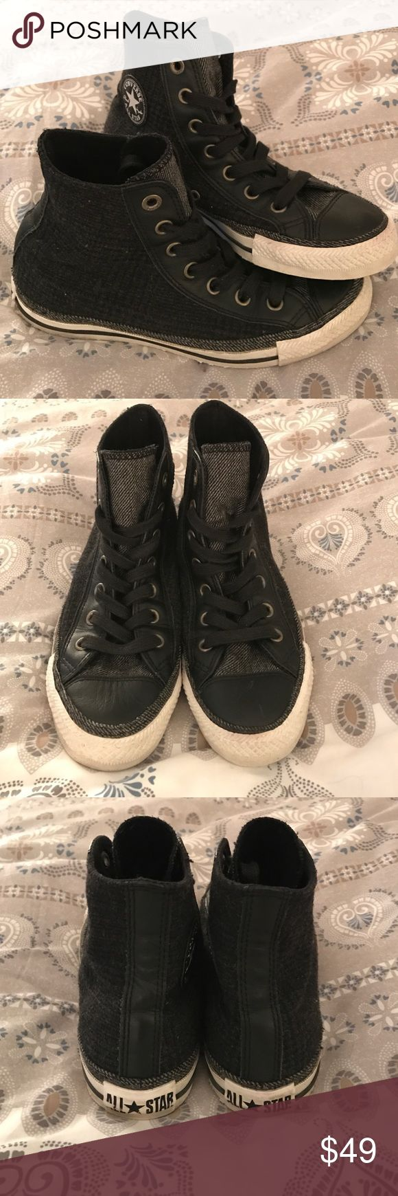 1 HOUR SALE Sweater Material Converse High Tops These converse are great for the winter because instead of being canvas they are a nice soft warm material. The soles and bottom are clean, and the shoes themselves have minor flaws from wear. No trades. Converse Shoes Sneakers