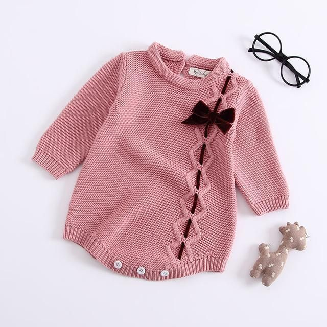 Autumn Baby Knitted rompers baby girls clothes Handmade Embroidered Conjoined Clothes Knittingdresskily