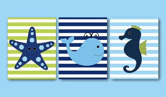 Whale Nursery Starfish Nursery Seahorse kids wall art baby nursery room decor prints