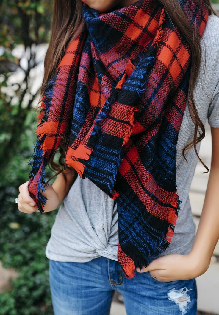 Red/Navy Plaid Blanket Scarf - Dottie Couture Boutique