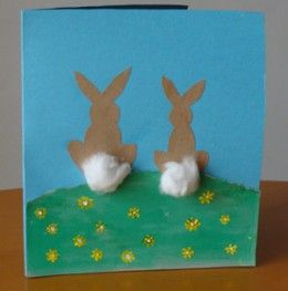 Two little cotton tail easter bunnies on a card, easter craft for kids