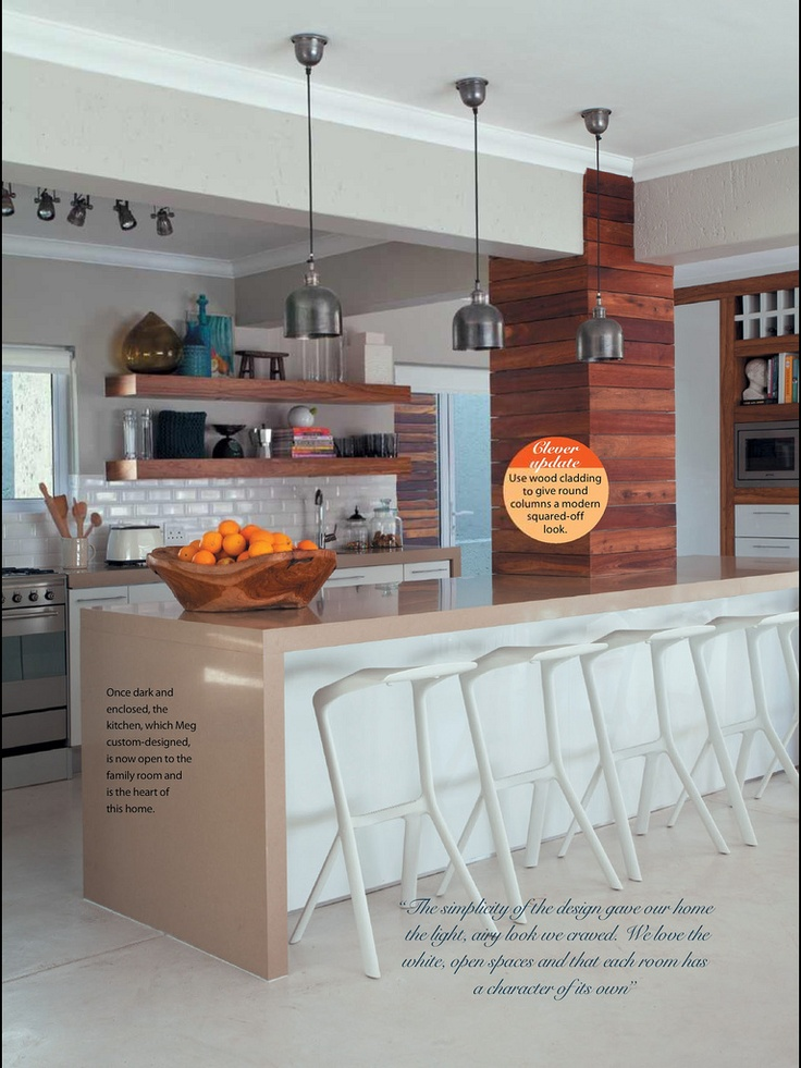 Proud to be Featured in Garden and Home, TIP:square of round pillars with wood cladding.    www.optimakitchens.co.za