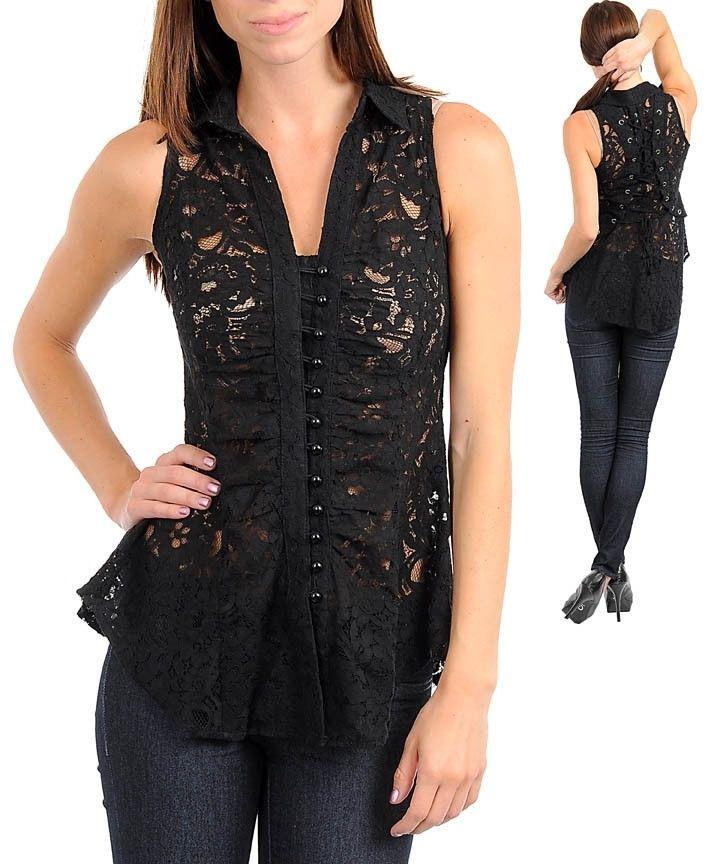 Romantic Victorian Floral Corset Lace Up Back Button Up Top Black