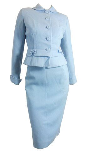 Baby Blue Bow Trimmed Fitted Wool Suit circa 1950s