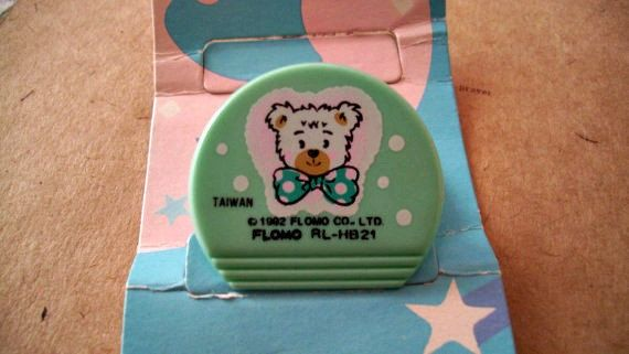 Round Teal Teddy Bear Paper Clip Flomo Kawaii by JirjiMirji, €4.90