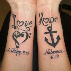 But on each shoulder blade---Love Hope wrist tattoos... love the Hebrews 6:19 anchor tattoo!!!