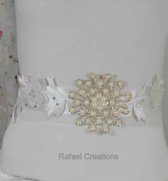 "My Unique Designer Wedding Sash Belt Bridal Sash Belt Beaded Crystal Sash Wedding Gown Belt Swarovski crystal ""1 in the world"" - Susana"
