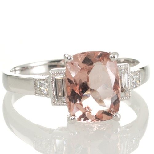A 1.72ct Morganite and Diamond Ring