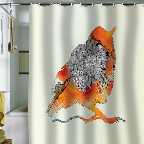 Orange Bird Shower Curtain