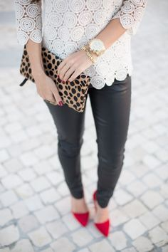 White Lace Tunic + Leather Pants + Red Pointed Heels + Leopard Clutch + Gold Watch
