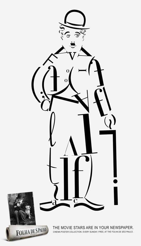 Chaplin hecho con letras del abecedario