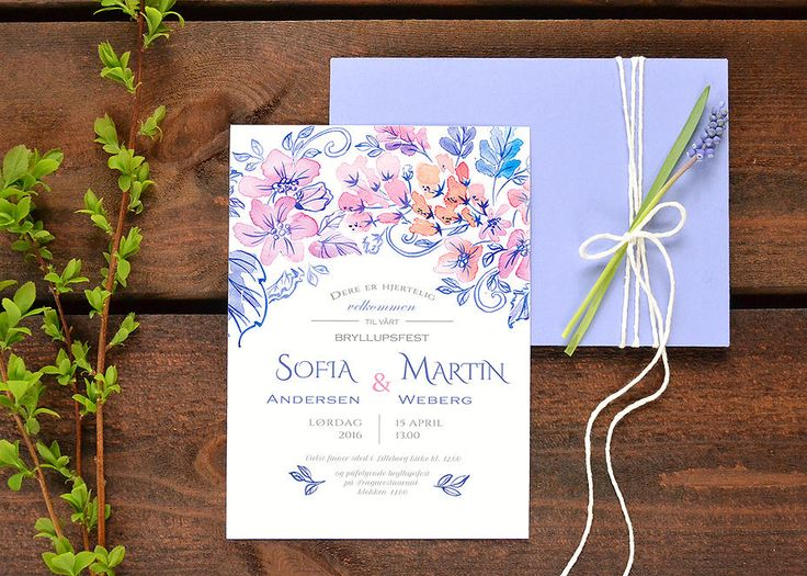Watercolor wedding invitation by Kateryna Savchenko. Custom wedding stationery design. akvarelldesign | Wedding