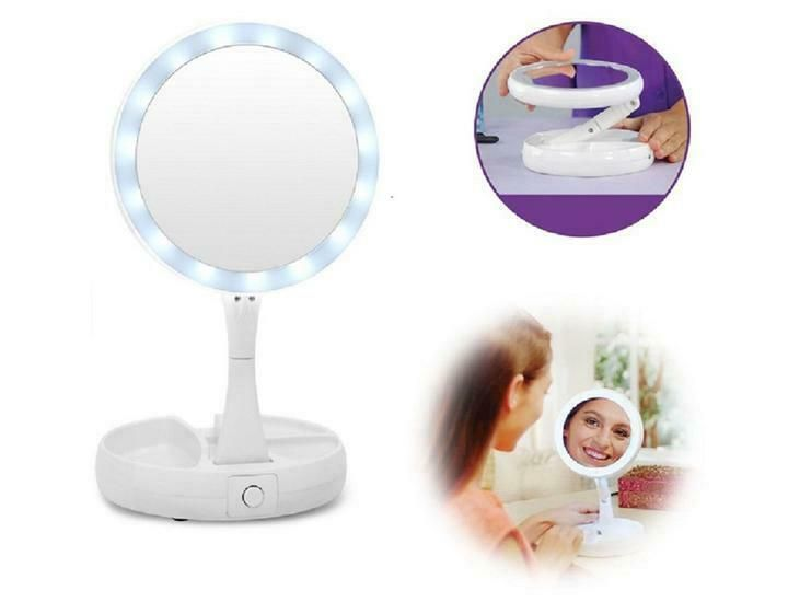 Details About New Vivitar Fold Away Led Double Sided Vanity Mirror