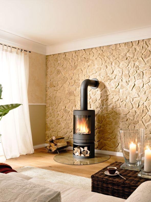 Wände Im Naturstein Look Steinwand Wohnzimmer