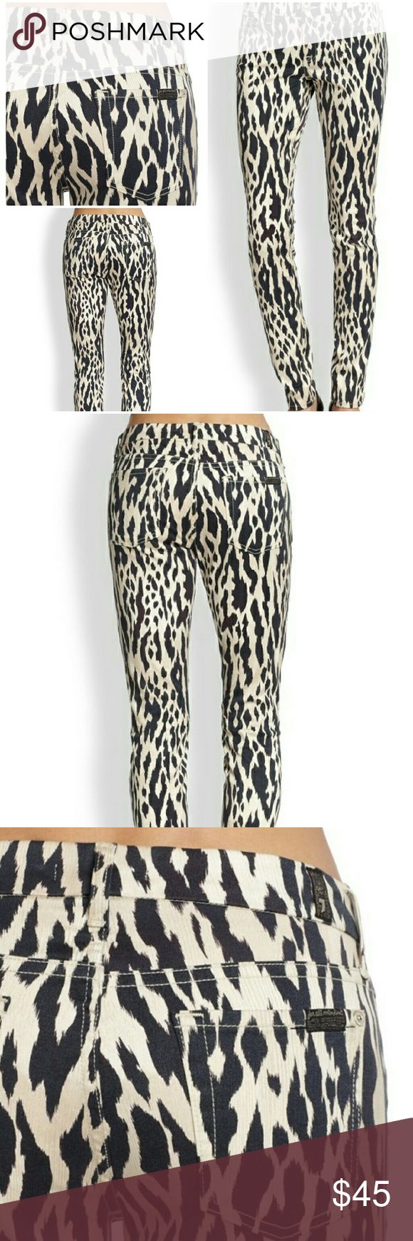 """💕 7 For All Mankind animal print jeans Sz 26 Seven for all mankind animal print jeans size 26 Waist measures laying flat 15"""", rise 8.5""""( mid rise), inseam 27"""" 96% cotton 4% spandex  Gently used in great condition no flaws 7 For All Mankind Jeans Skinny"""
