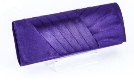 Koko Purple Satin Pleated Evening Clutch Bag