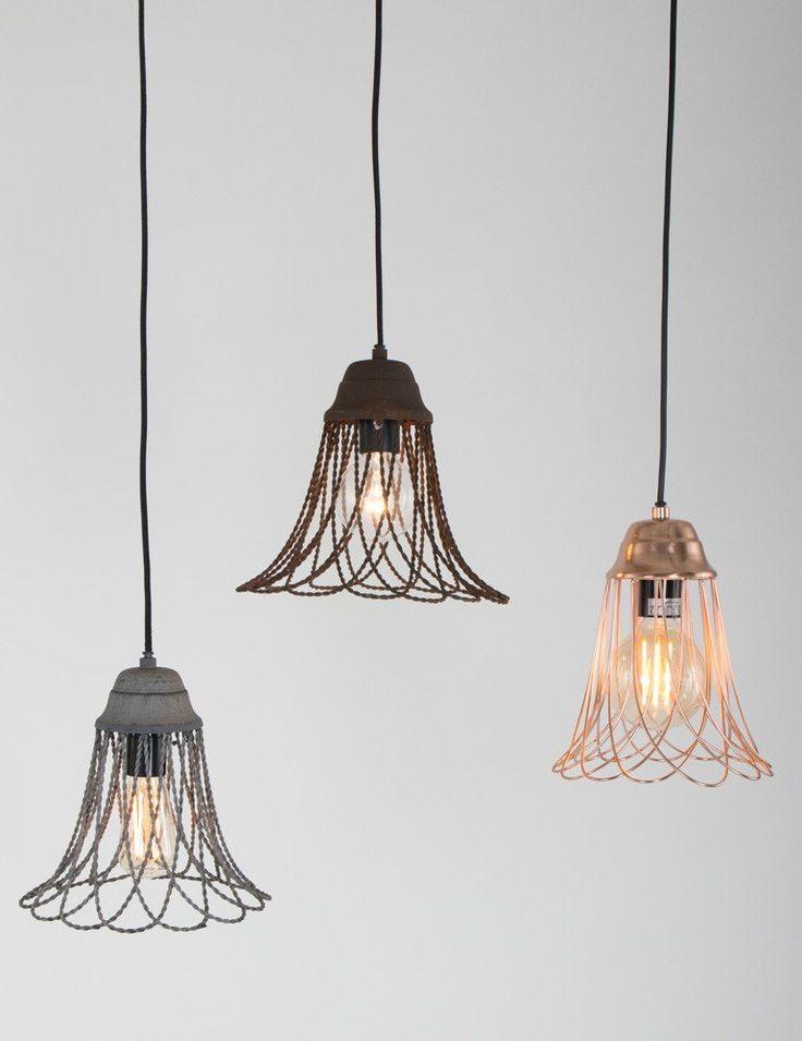 Stoere hanglamp Light & Living Beverly cement Ø 25cm