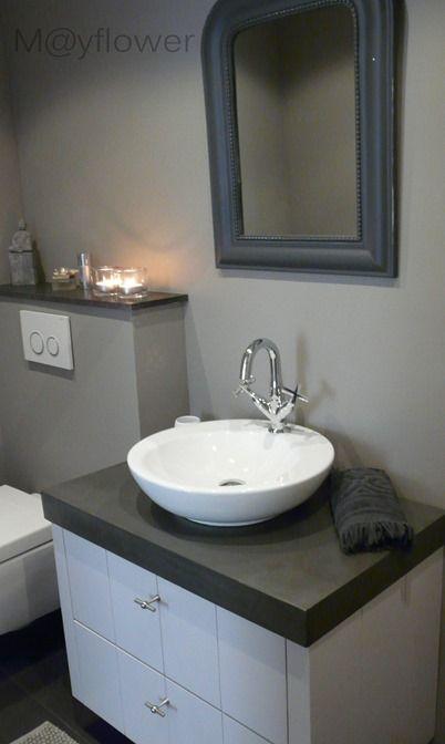 Wasbak badkamer landelijke stijl.