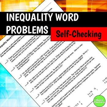 inequality word problems self checking worksheet word problems worksheets and math. Black Bedroom Furniture Sets. Home Design Ideas