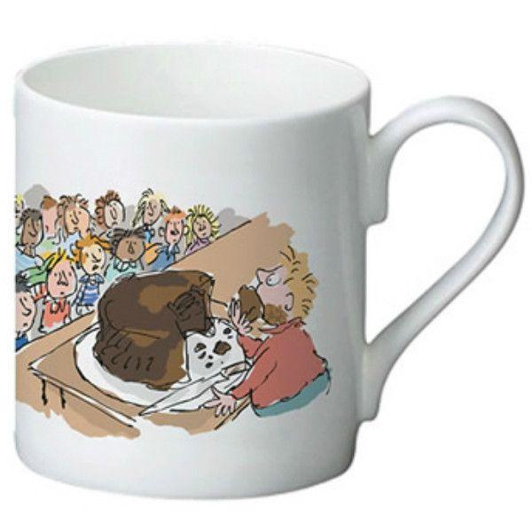 Roald Dahl Matilda bone china mug, featuring Quentin Blakes illustration of Bruce Bogtrotter and the cake eating scene along with slogan 'Eat! Eat! Eat!'.
