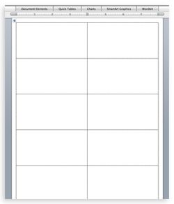Word document with place card cutting guidelines