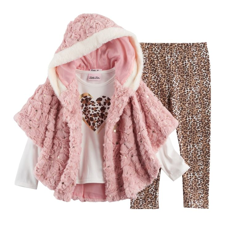 Toddler Girl Little Lass Faux Fur Poncho, Heart Tee & Cheetah Leggings Set, Size: 3T, Pink Other