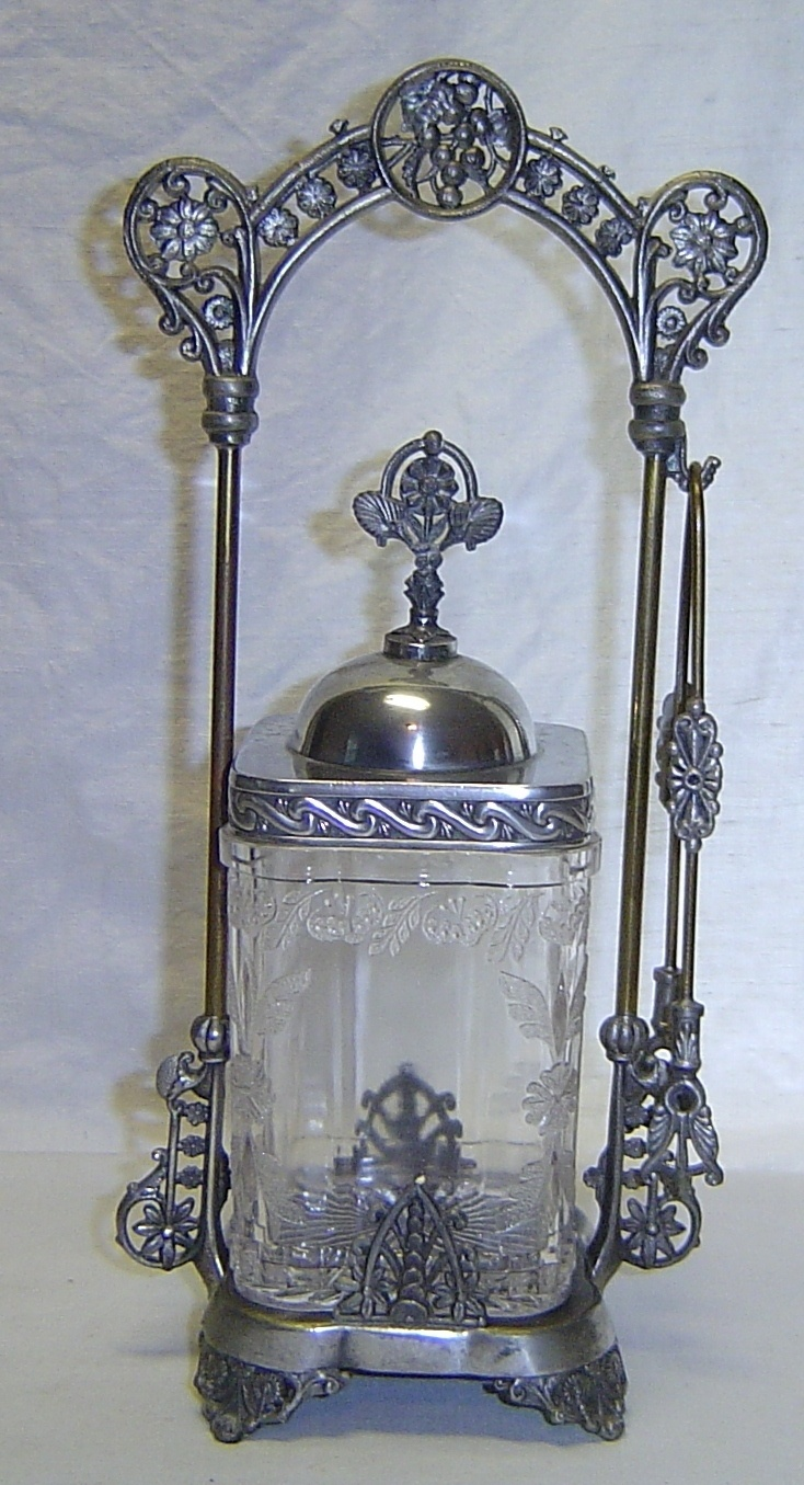 Antique Victorian Silver Square Pickle Castor Frame EAPG Glass Insert Tongs | eBay