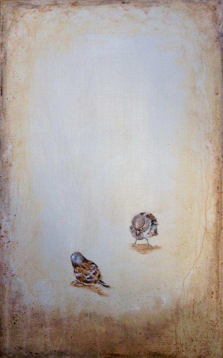 Pájaros. acrílico sobre chapa de aluminio recuperada