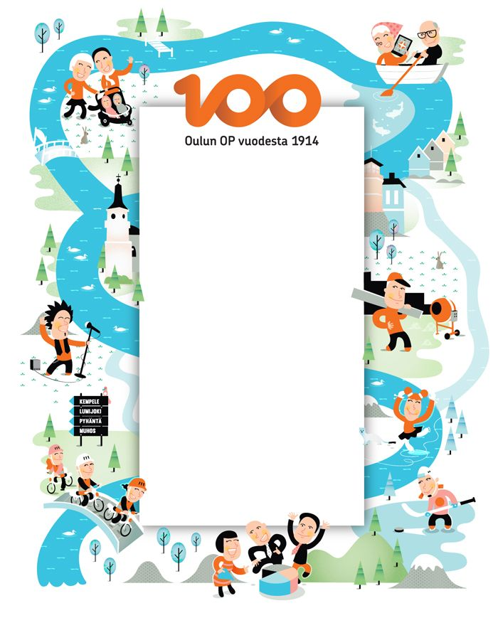 Illustration for Oulun osuuspankki for it's 100 years celebration ad and marketing materials.