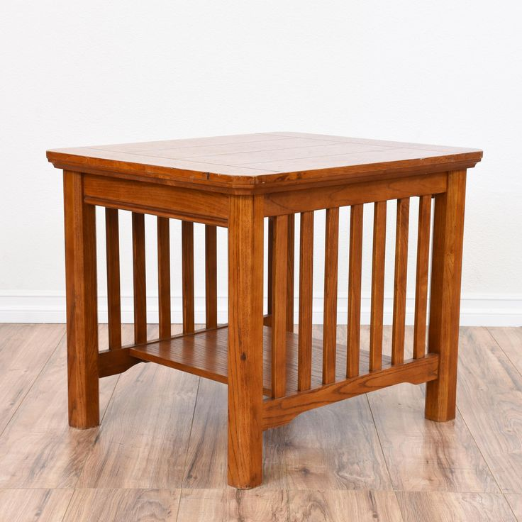 This Mission Style End Table Is Featured In A Solid Wood With A Light  Glossy Cherry