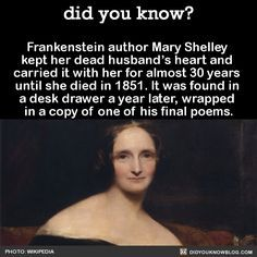 Frankenstein author Mary Shelley  kept her dead husband's heart and  carried it with her for almost 30 years  until she died in 1851. It was found in  a desk drawer a year later, wrapped  in a copy of one of his final poems.  Source