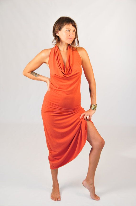 Backless Maxi Dress  Draped Halter  Full Length Dress  by SoulRole, $130.00