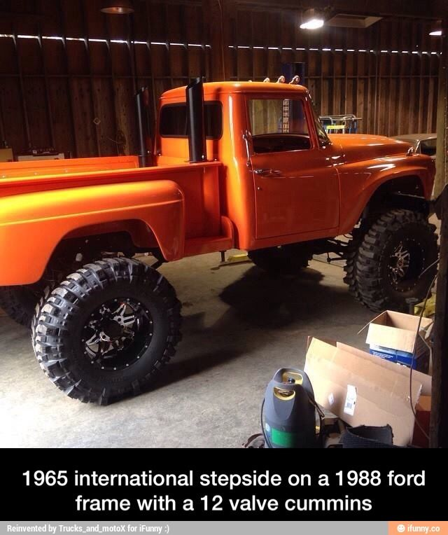 Lifted '65 international pickup W/ step-side box & 12 valve cummins diesel fitting on an '88 Ford 3/4T. 4x4 frame...ORANGE