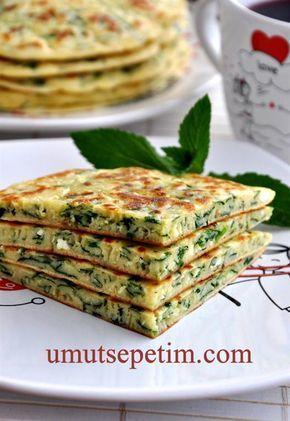 ✿ ❤ ♨  Ispanaklı Krep'in börek görünüşü :) çok güzel...Malzemeler: 1 tutam  ıspanak 1  tutam maydanoz 1  kase  beyaz  peynir 3 adet yumurta 1 tatlı  kaşığı  tuz 3 çorba  kaşığı  sıvı yağ 1 paket kabartma  tozu 1,5 su bardağı süt 1 paket  kabartma tozu 1,5  su bardağı  un ( Yumurtaların büyüklüğüne ve kullanılan bardakların ölçüsüne  göre miktar değişebiliyor,o yüzden azar azar eklemenizde fayda var.) Börekleri  yağlamak için  3 çorba kaşığı tereyağ.