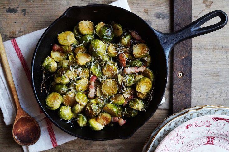 Geroosterde spruitjes met Parmezaan & pancetta