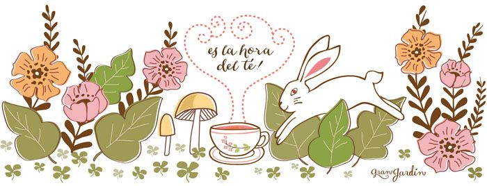 it´s tea time! illustration for #granjardin #rabbit #teatime #tea #flowers #illustration #mushrooms #conejo #te