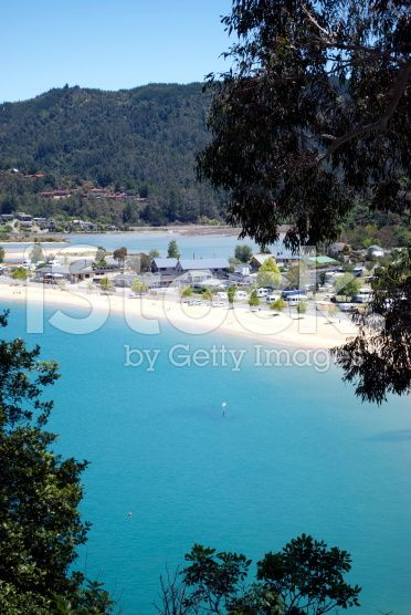 Sunny Kaiteriteri Beach, New Zealand Seacape royalty-free stock photo