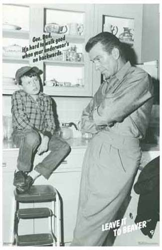 "The Beaver and Ward share a Father-Son moment in this fun poster! Jerry Mathers says: ""Gee Dad, it's hard to walk good when your underwear's on backwards..."" Classic TV shenanigans :) Ships fast. 11x1"