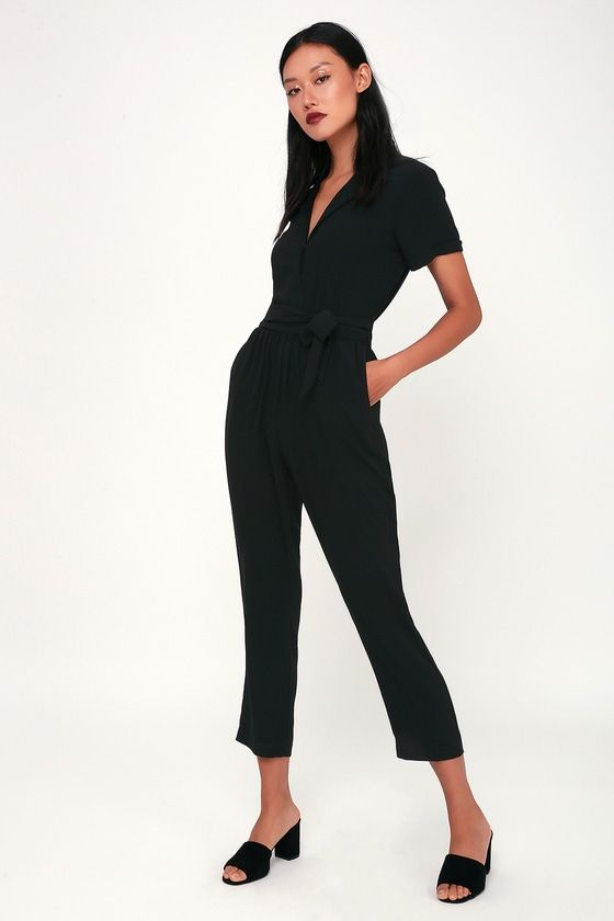 9da60779e166 The Lulus Walk With You Black Short Sleeve Jumpsuit is here for you from  work to play! Medium-weight poly shapes this collared jumpsuit with short  sleeves.
