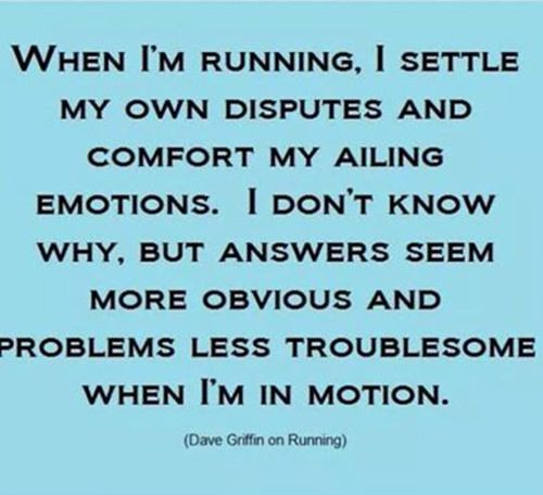 Running Matters #223 When I'm running, I settle my own disputes and comfort my ailing emotions. I don't know why, but answers seem more obvious and problems less troublesome when I'm in motion.
