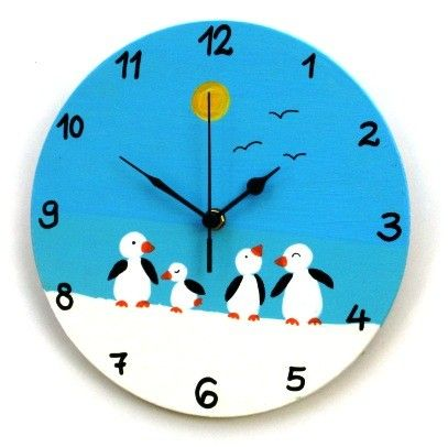 Wooden Wall Clock With Penguins Painting by TammnoonyKids on Etsy, $35.90