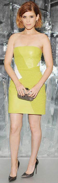 Who made Kate Mara's yellow strapless dress and silver pumps
