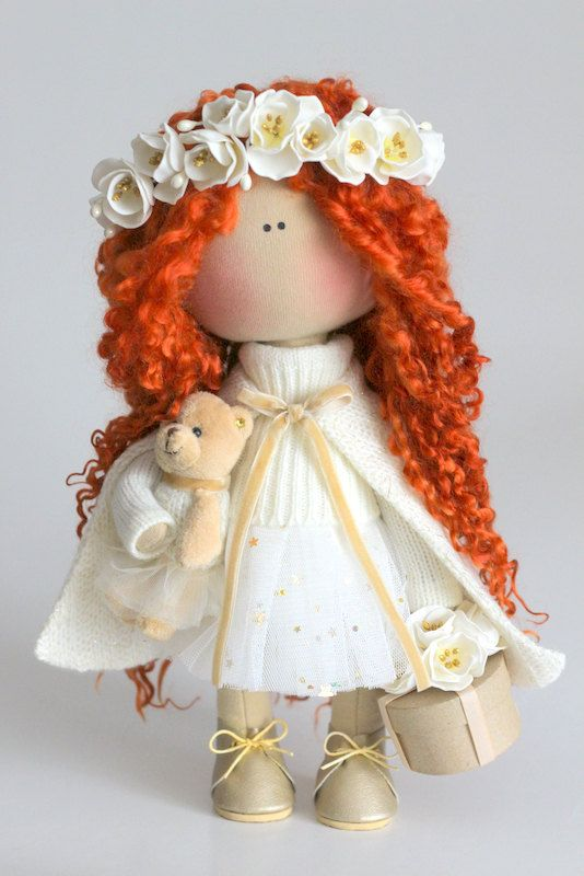 Curly doll Fabric doll Tilda doll red white by AnnKirillartPlace