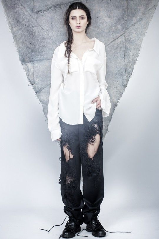 #ALMAZ Silk Shirt /// Black Ripped Embrodery Lace Trousers