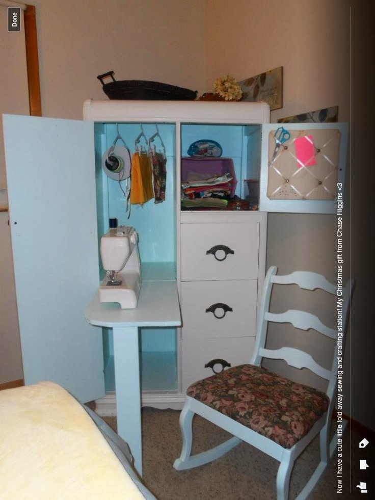 Sewing Station Made From An Old Armoire  Uses Some Paint, And Some Wood For  The Fold Out Table Makes A Perfect Place For Crafting And Organization.