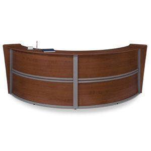 OFM Marque Double Reception Desk - Walnut by OFM. $1920.95. Wire Management Grommet Built-In. Scratch-resistant thermofuesd melamine surface.. Black Edge Banding. Two Locking and Two Non-Locking Casters Included as Standard. Designed and built for commercial use.. Contemporary style meets price! The Marque Double Reception Station by OFM adds a modern curve design to your reception area without breaking the budget. Walnut melamine complemented with a silver frame. Features wire ...