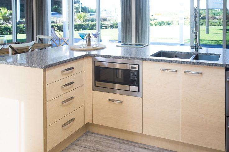 Kitchen cabinet doors are made from decorative Finnish birch plywood.