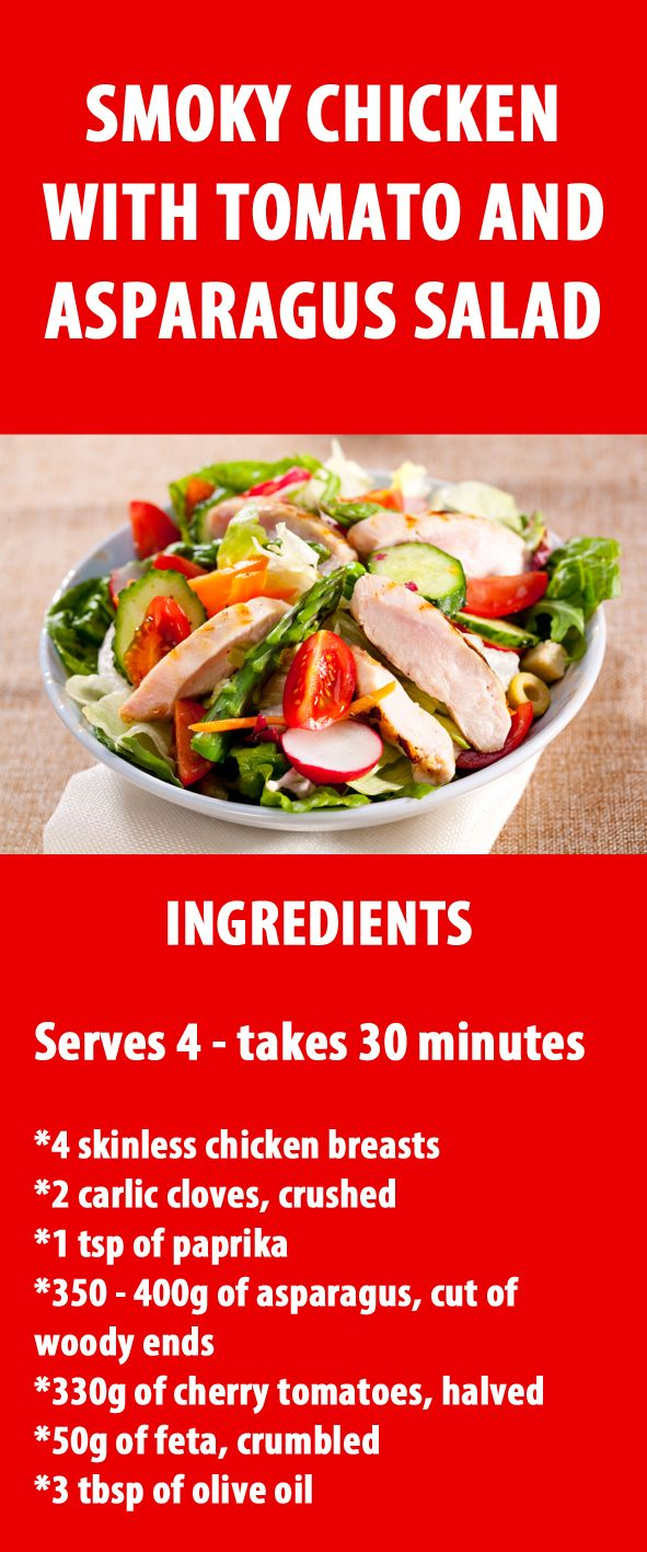 This smoky chicken, tomato, and asparagus salad is the perfect light dish for any summer evening. Guaranteed to fill you up, it's quick and easy giving you plenty of time to make the most of the long balmy days. With plenty of protein this meal is also great to have for lunch or on a rest day to help build and repair your muscles. #recipe #chicken #healthyrecipe